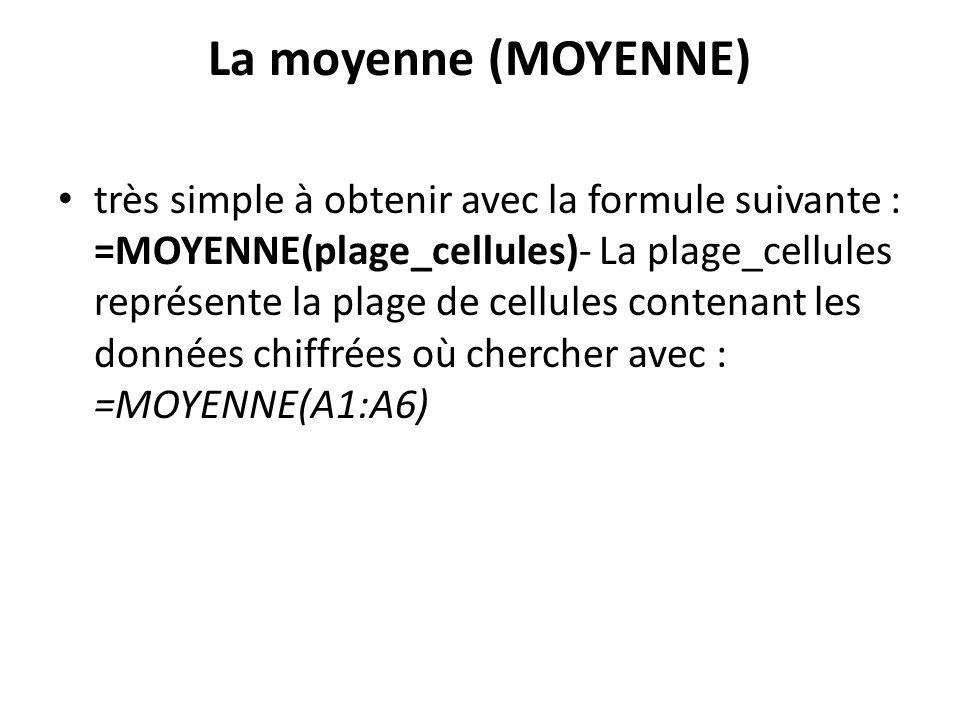 La moyenne (MOYENNE)
