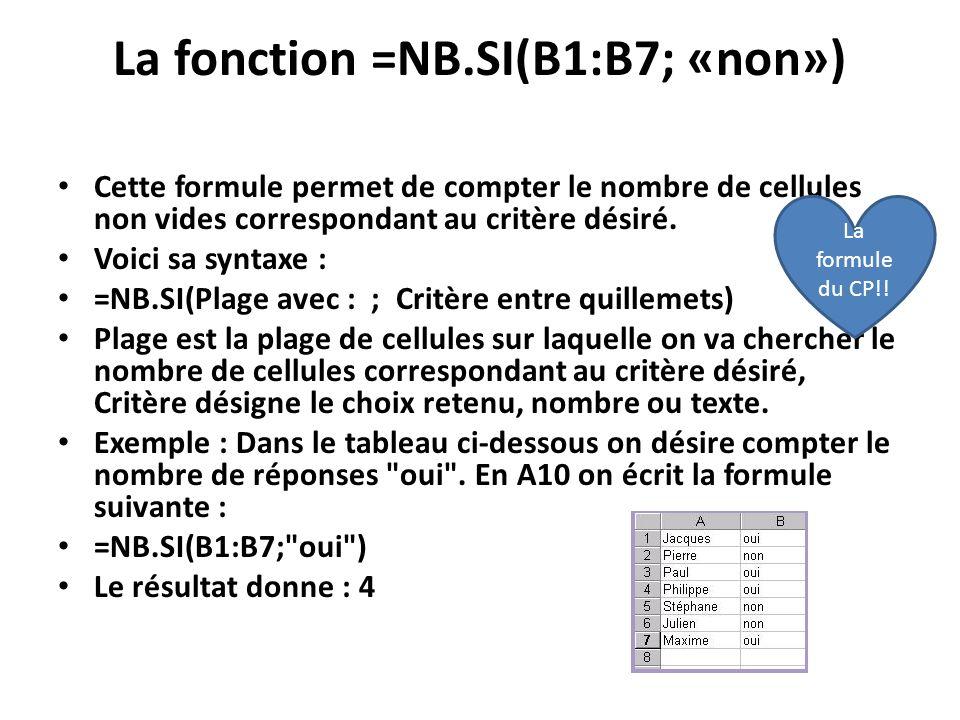 La fonction =NB.SI(B1:B7; «non»)