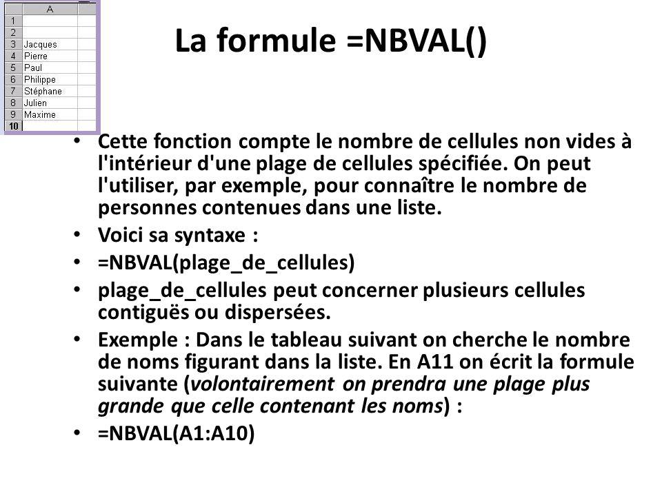 La formule =NBVAL()