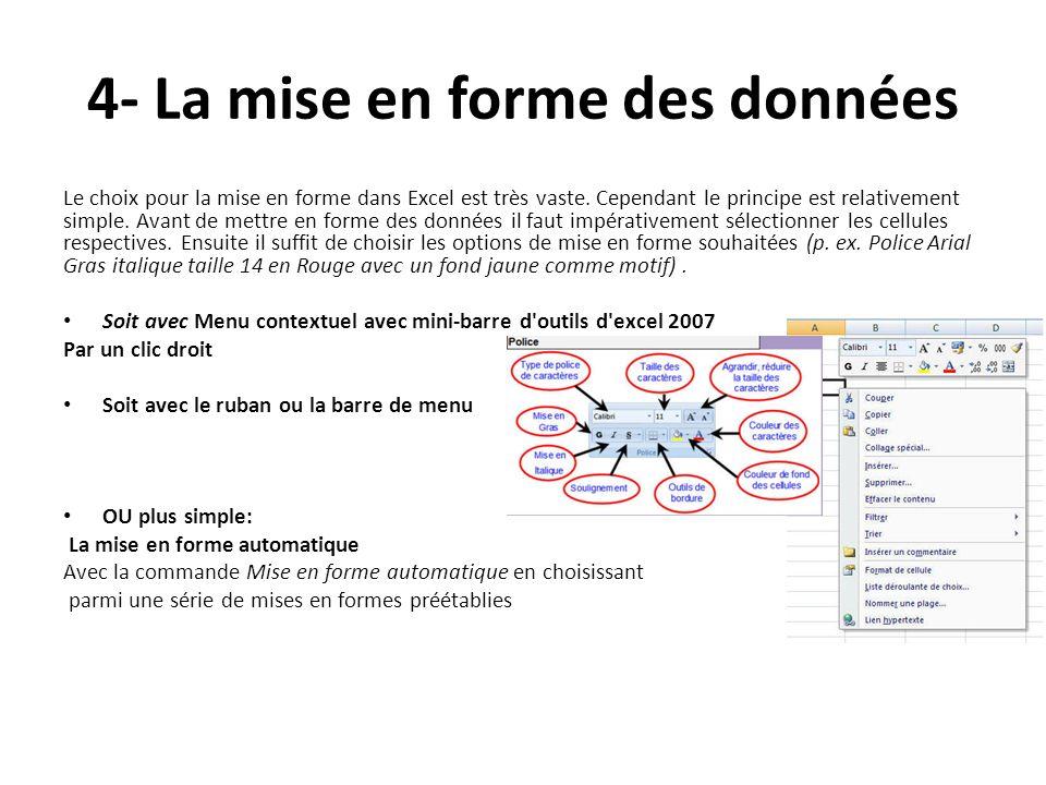 4- La mise en forme des données