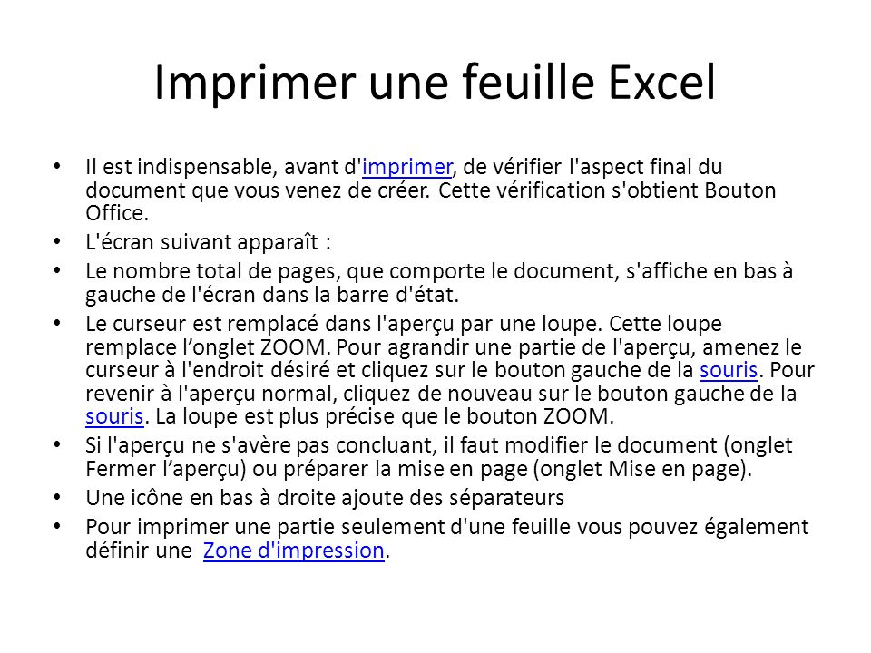 Imprimer une feuille Excel