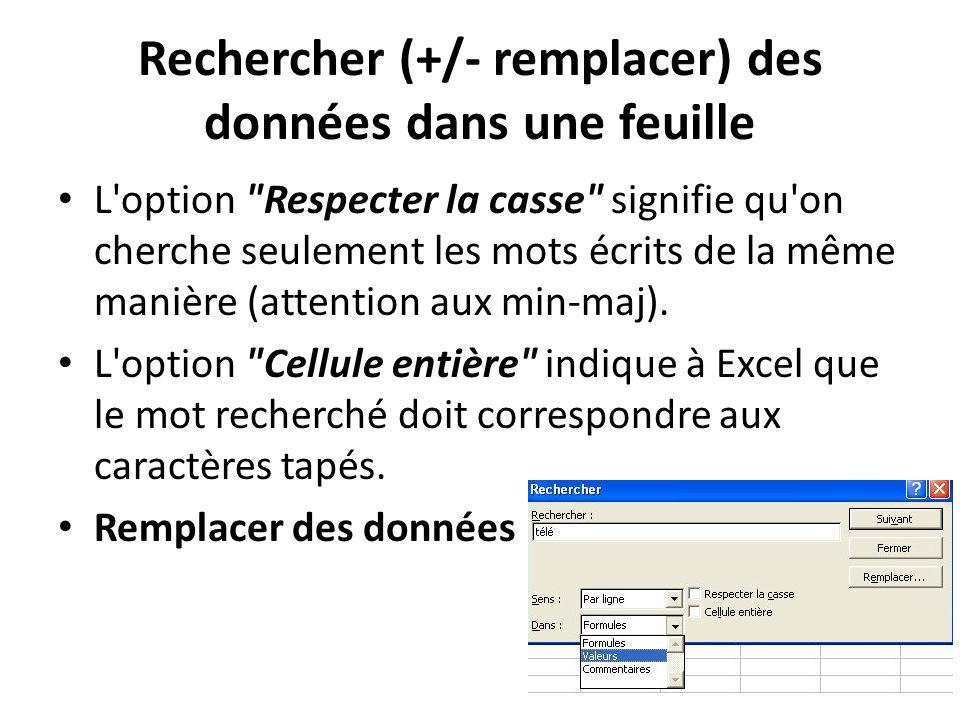 Rechercher (+/- remplacer) des données dans une feuille