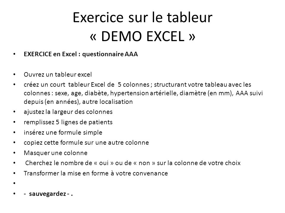 Exercice sur le tableur « DEMO EXCEL »