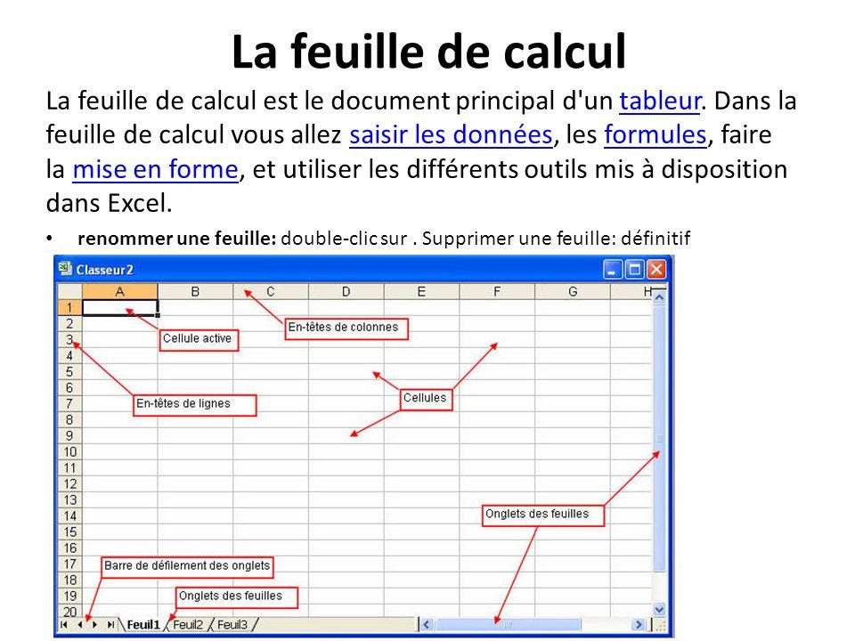 La feuille de calcul