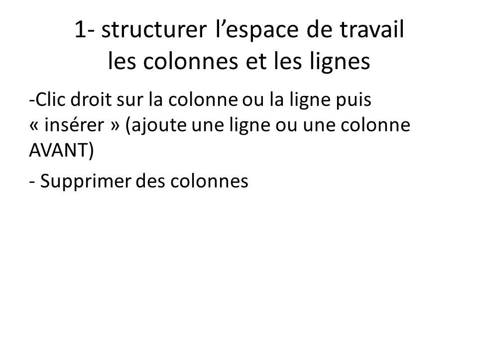 1- structurer l'espace de travail les colonnes et les lignes