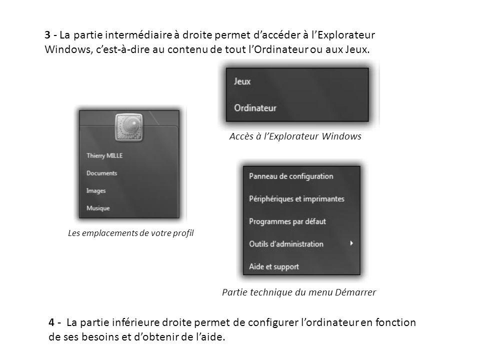 3 - La partie intermédiaire à droite permet d'accéder à l'Explorateur Windows, c'est-à-dire au contenu de tout l'Ordinateur ou aux Jeux.