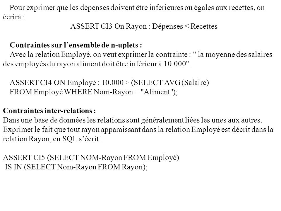 ASSERT CI3 On Rayon : Dépenses ≤ Recettes