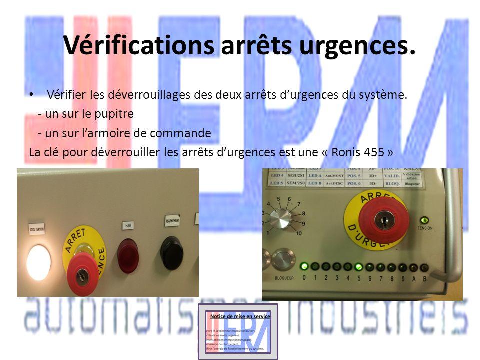 Vérifications arrêts urgences.