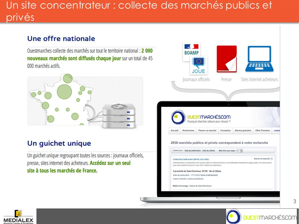 Un site concentrateur : collecte des marchés publics et privés