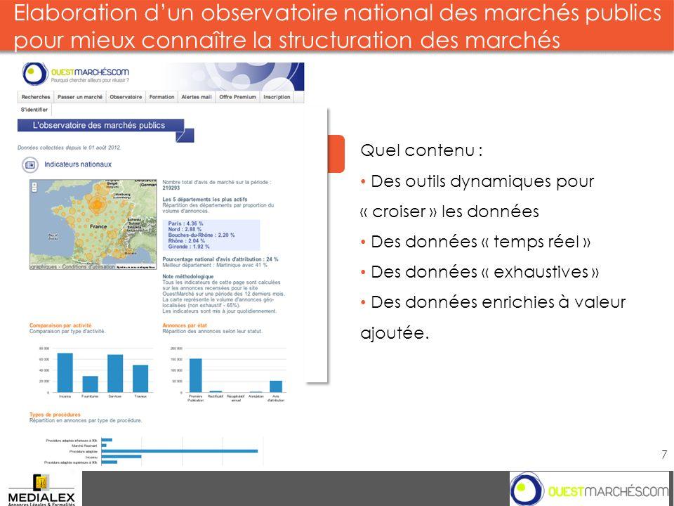 Elaboration d'un observatoire national des marchés publics pour mieux connaître la structuration des marchés
