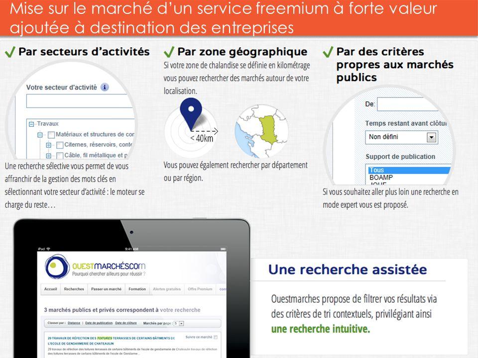 Mise sur le marché d'un service freemium à forte valeur ajoutée à destination des entreprises