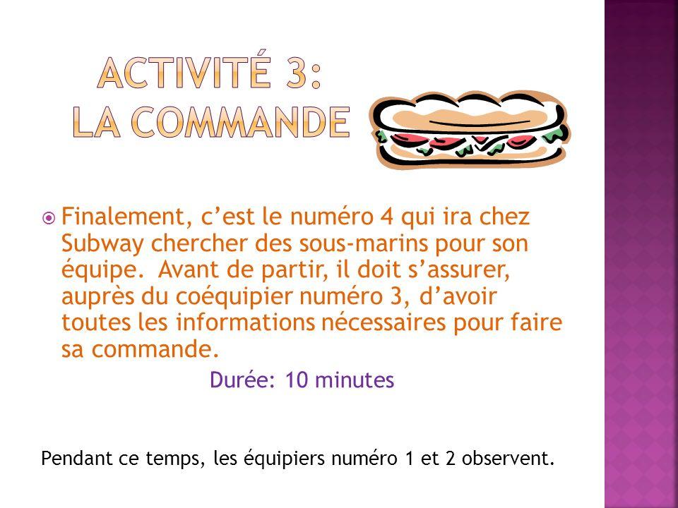 Activité 3: la commande