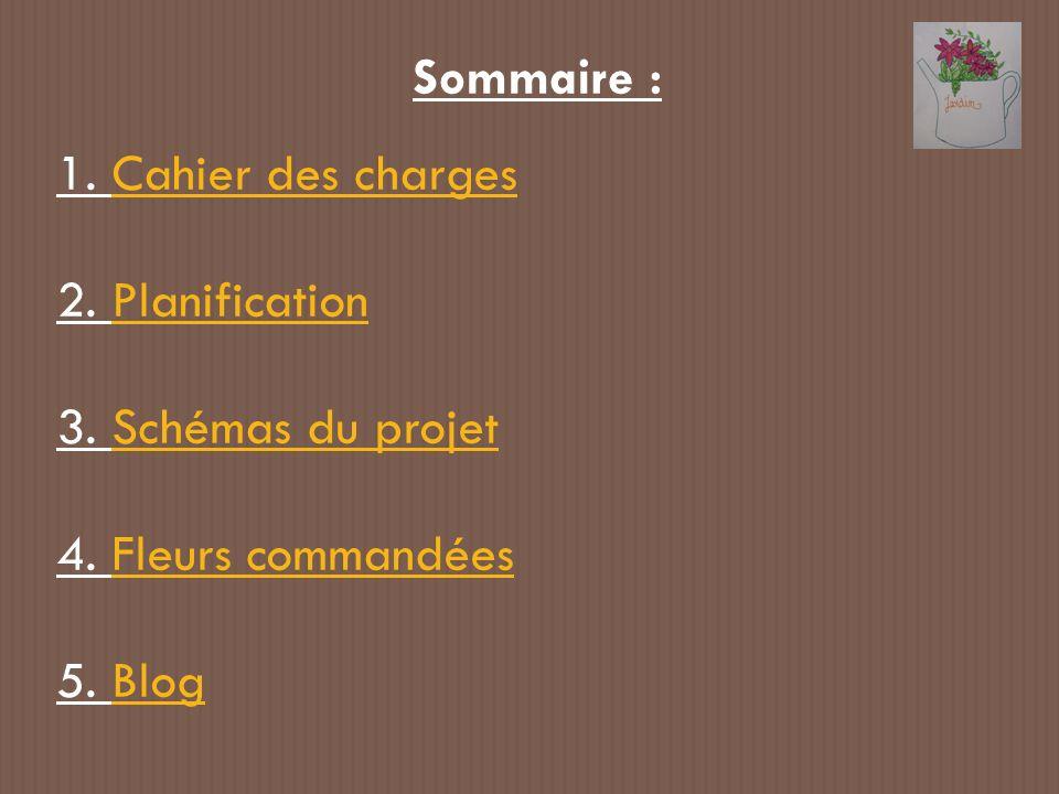 Sommaire : 1. Cahier des charges 2. Planification 3. Schémas du projet 4. Fleurs commandées 5. Blog