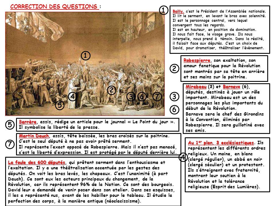 CORRECTION DES QUESTIONS :
