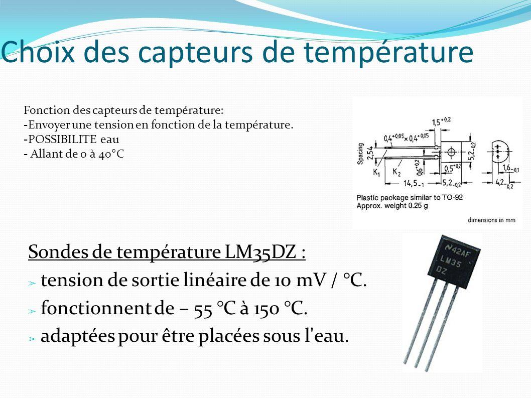 Choix des capteurs de température
