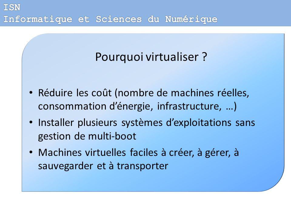 ISN Informatique et Sciences du Numérique. Pourquoi virtualiser