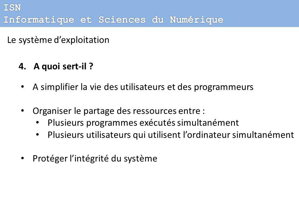 ISN Informatique et Sciences du Numérique. Le système d'exploitation. A quoi sert-il A simplifier la vie des utilisateurs et des programmeurs.