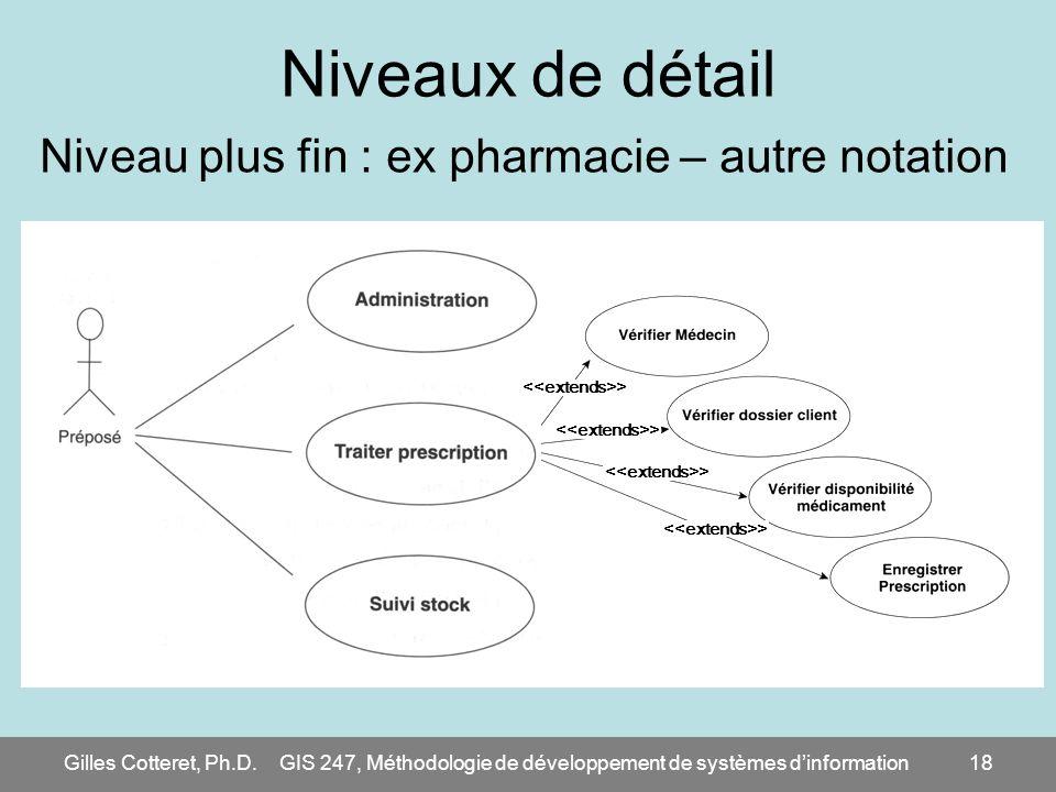 Niveaux de détail Niveau plus fin : ex pharmacie – autre notation