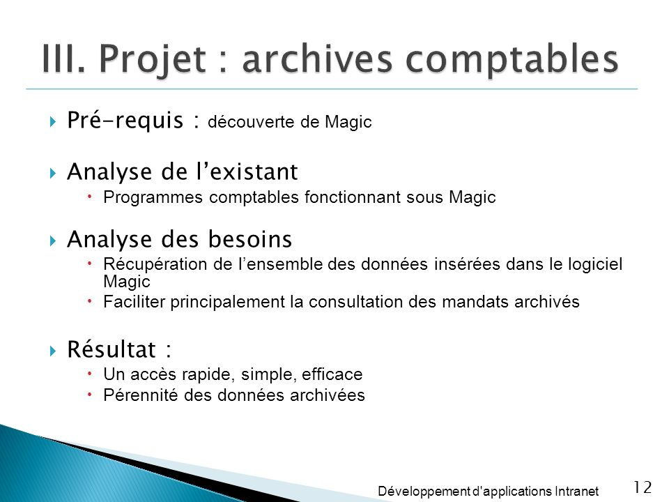 III. Projet : archives comptables