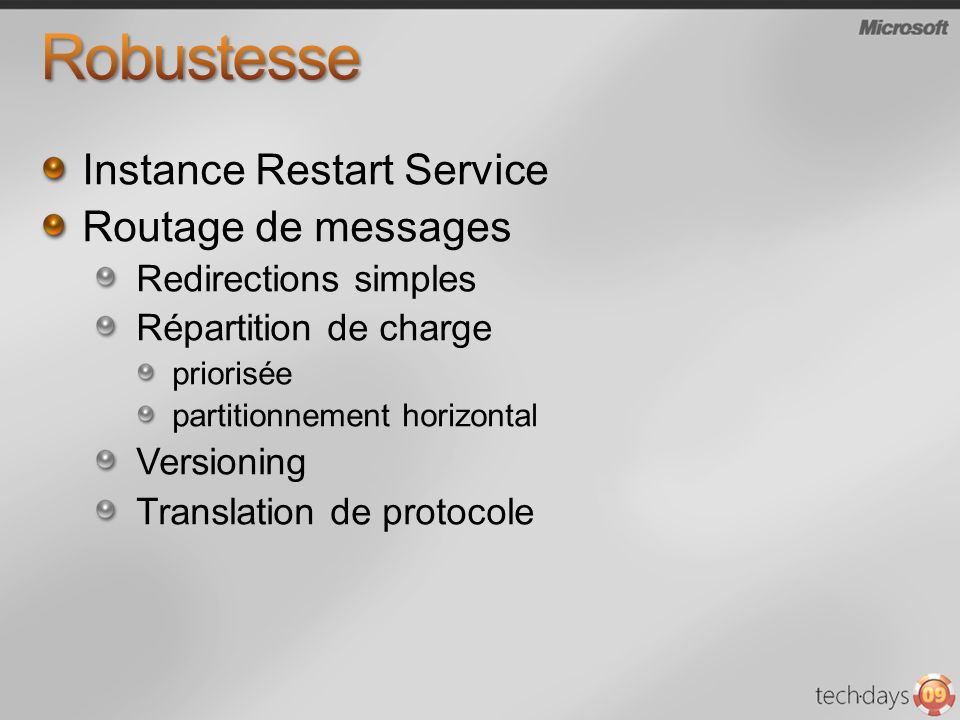 Robustesse Instance Restart Service Routage de messages
