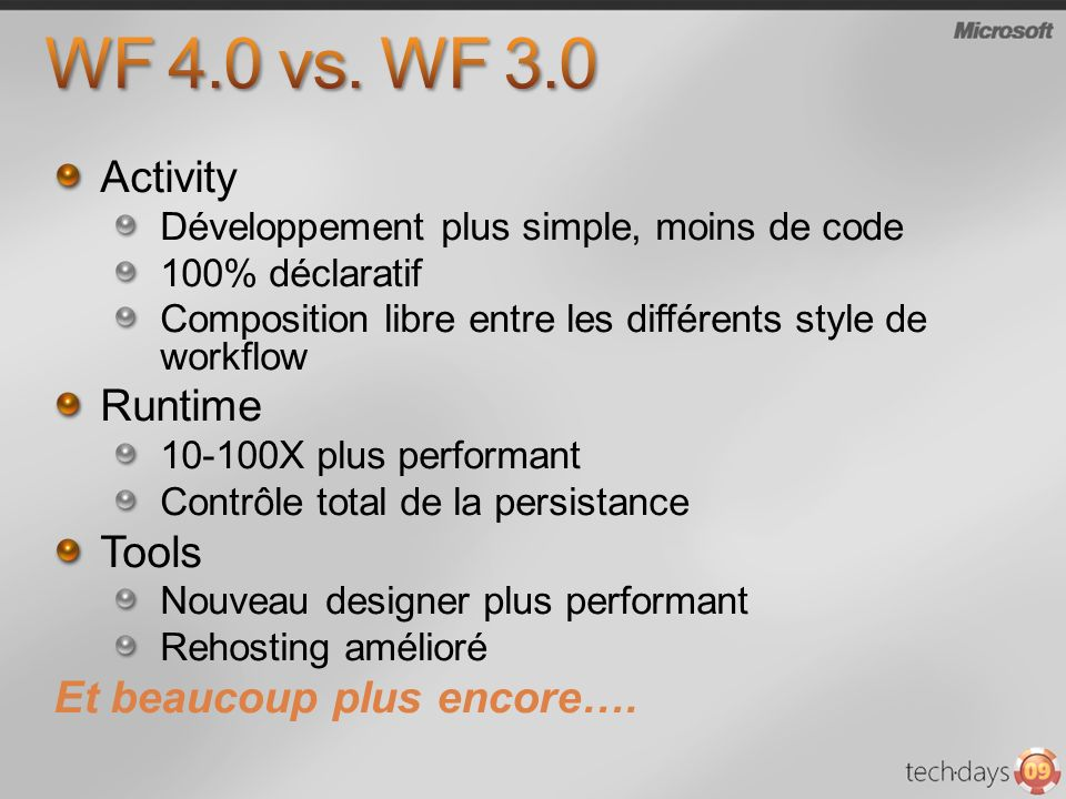 WF 4.0 vs. WF 3.0 Activity Runtime Tools Et beaucoup plus encore….