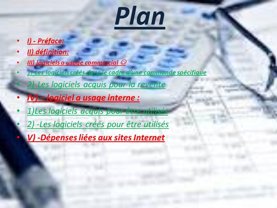 Plan 2)-Les logiciels acquis pour la revente