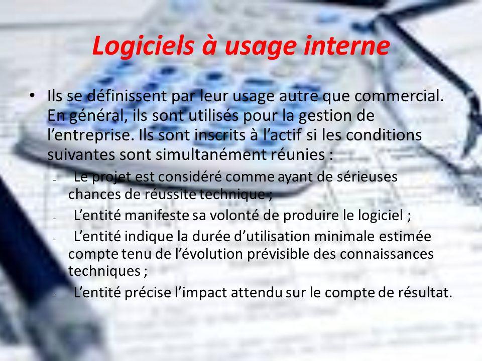 Logiciels à usage interne