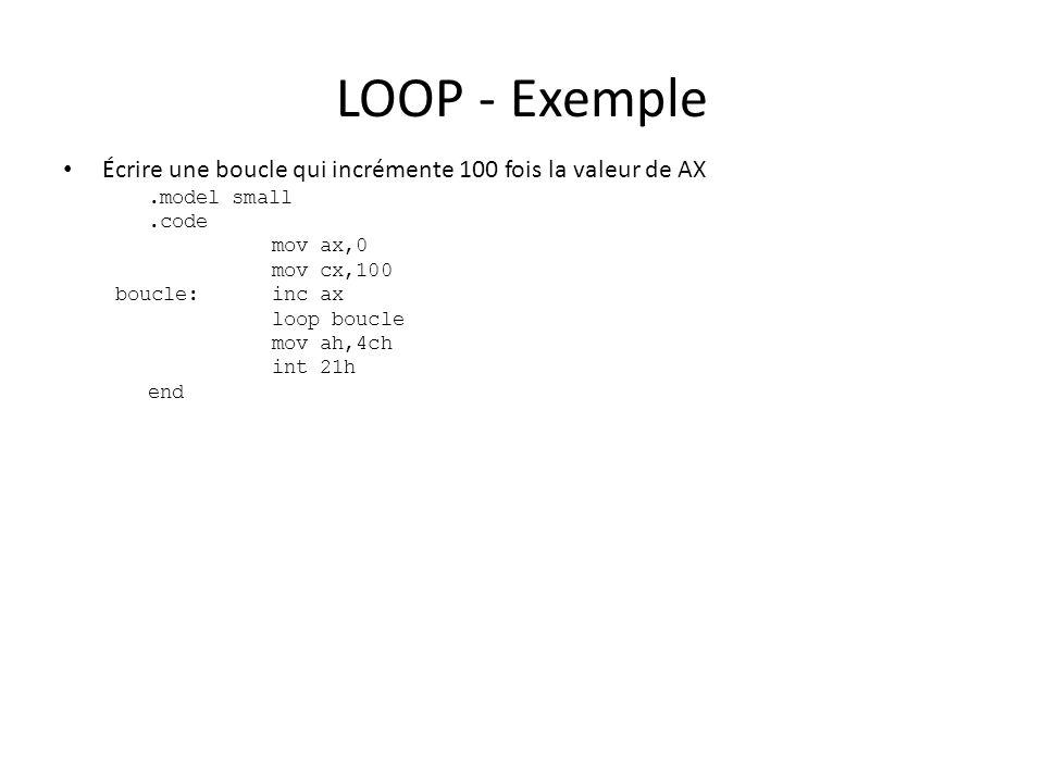 LOOP - Exemple Écrire une boucle qui incrémente 100 fois la valeur de AX. .model small. .code. mov ax,0.