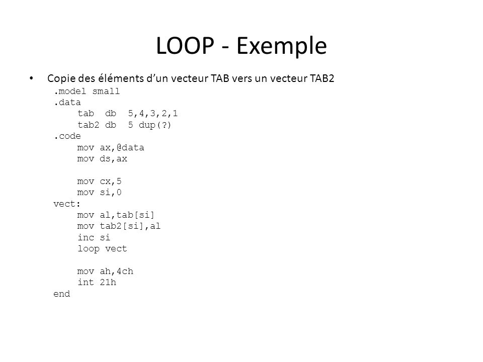 LOOP - Exemple Copie des éléments d'un vecteur TAB vers un vecteur TAB2. .model small. .data. tab db 5,4,3,2,1.