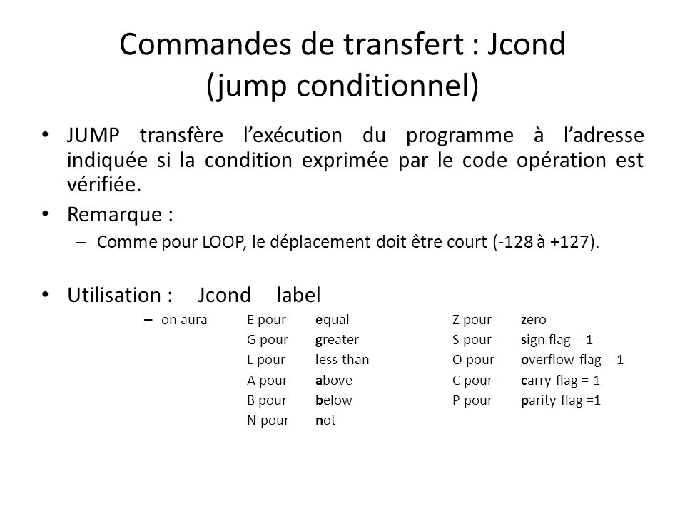 Commandes de transfert : Jcond (jump conditionnel)