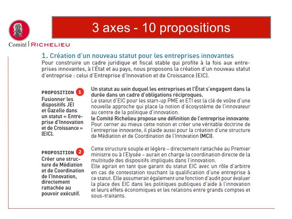 3 axes - 10 propositions
