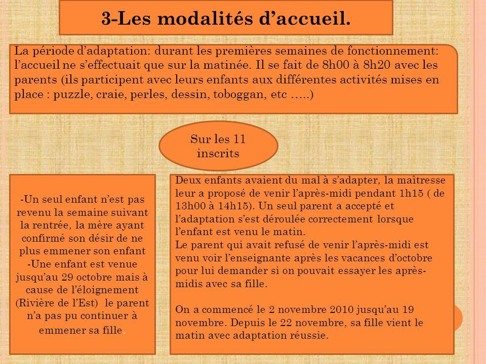 3-Les modalités d'accueil.