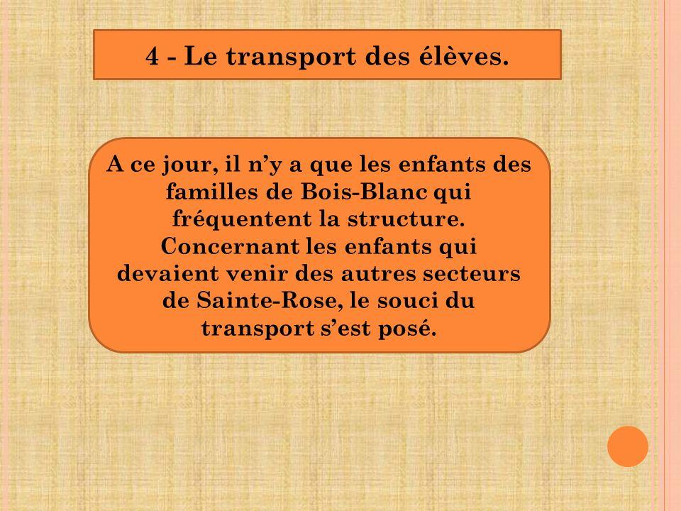 4 - Le transport des élèves.