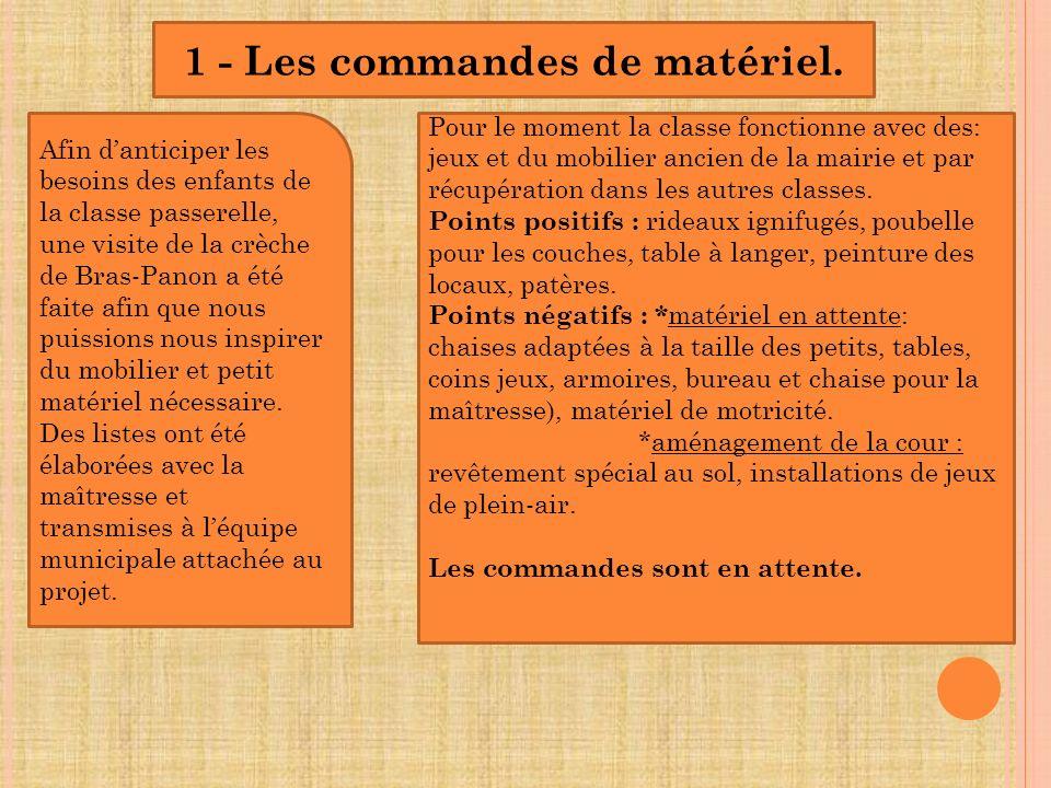 1 - Les commandes de matériel.
