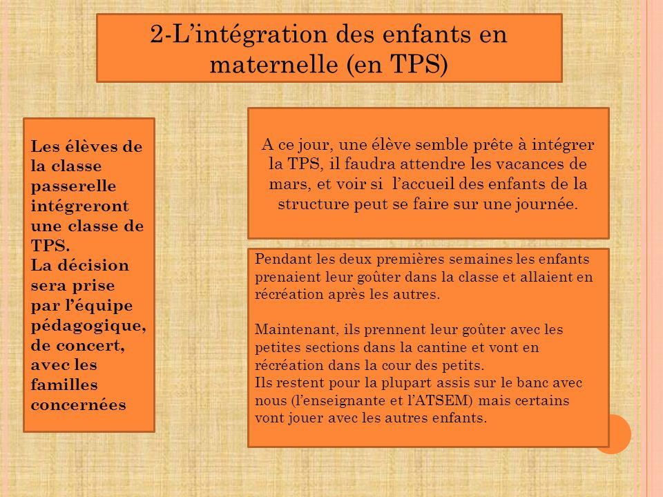 2-L'intégration des enfants en maternelle (en TPS)