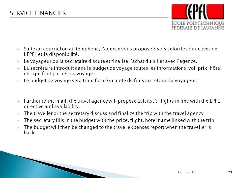 Suite au courriel ou au téléphone, l'agence vous propose 3 vols selon les directives de l'EPFL et la disponibilité.