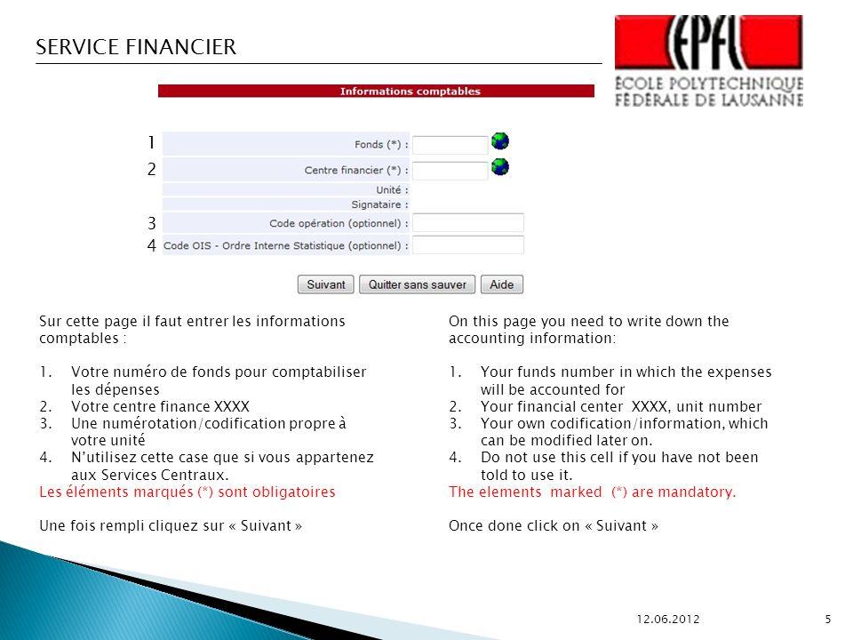 1 2 3 4 Sur cette page il faut entrer les informations comptables :