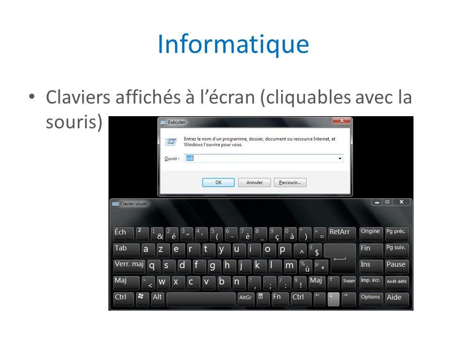 Informatique Claviers affichés à l'écran (cliquables avec la souris)