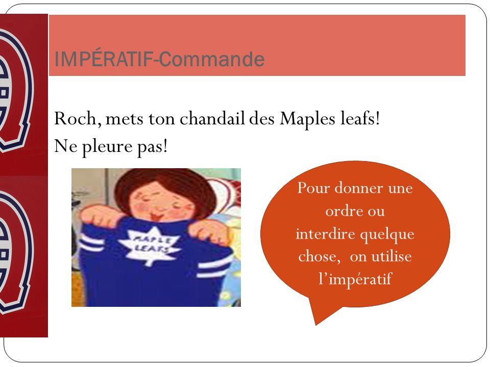 Roch, mets ton chandail des Maples leafs! Ne pleure pas!