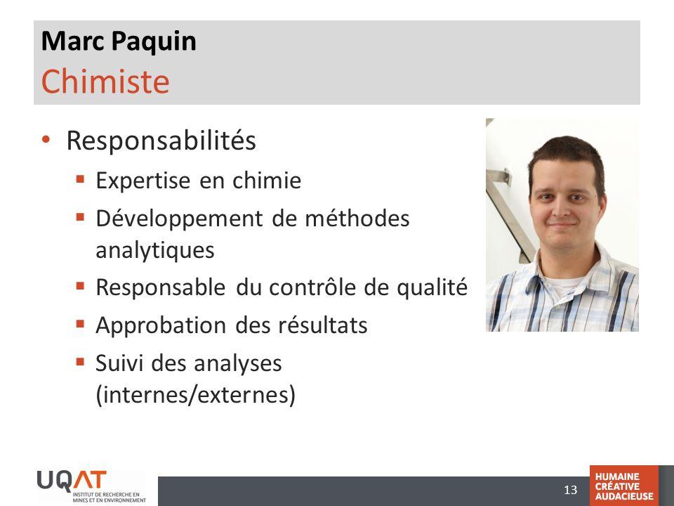 Marc Paquin Chimiste Responsabilités Expertise en chimie