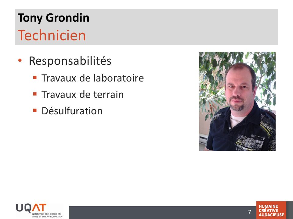 Tony Grondin Technicien