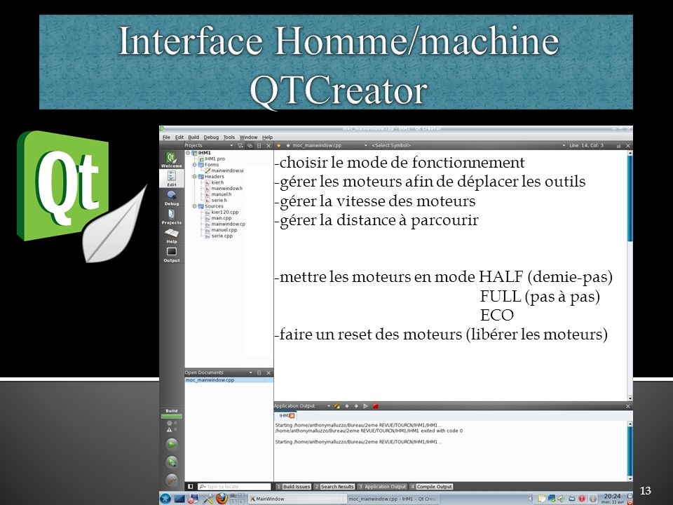 Interface Homme/machine QTCreator