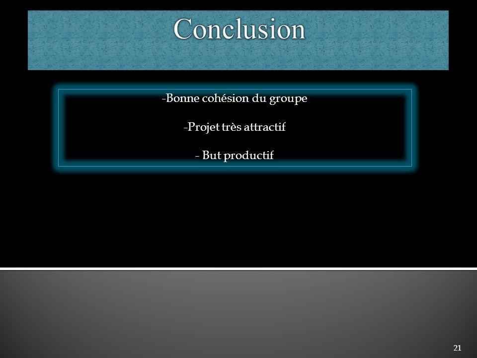 Conclusion -Bonne cohésion du groupe -Projet très attractif