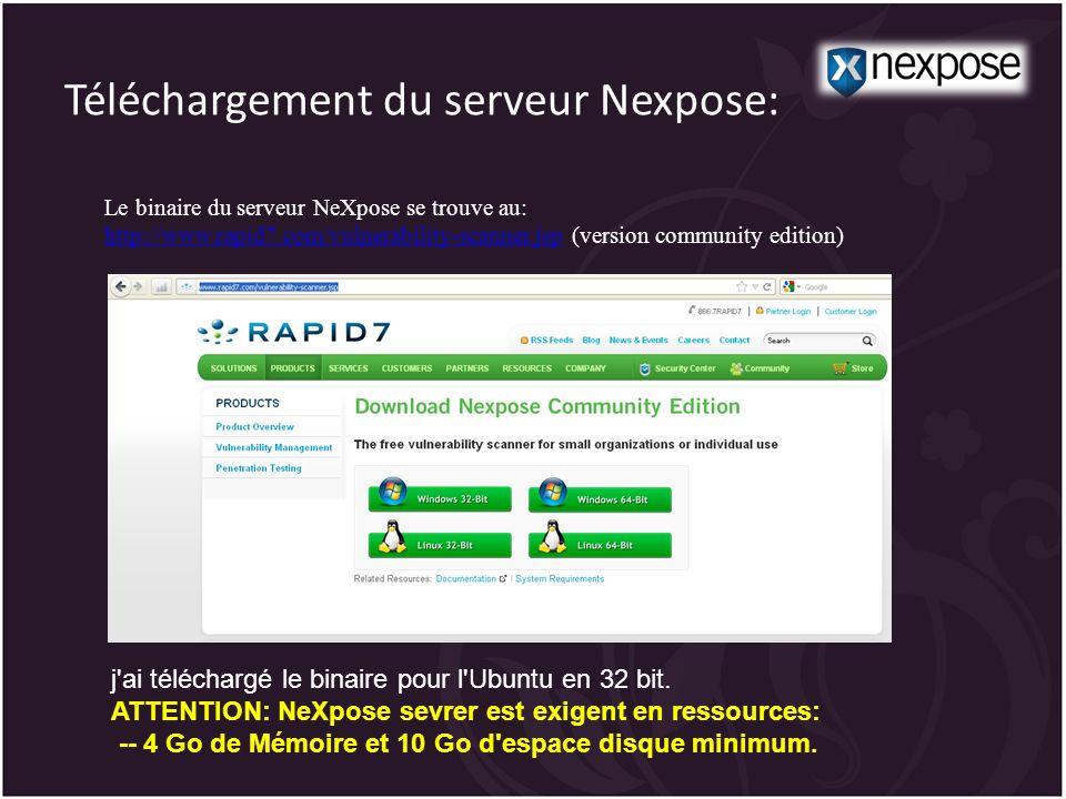 Téléchargement du serveur Nexpose: