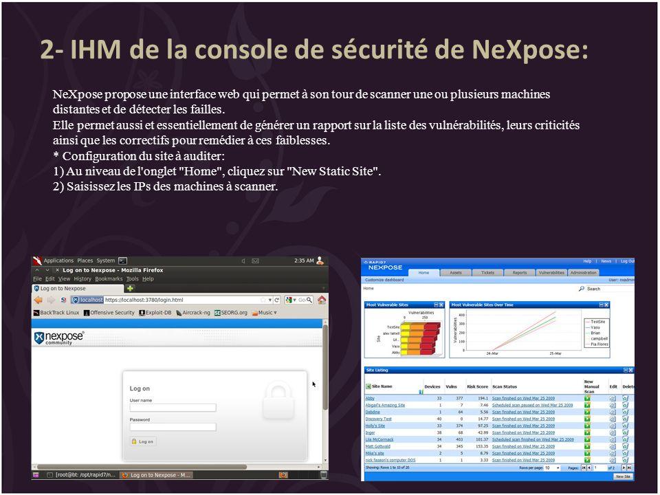 2- IHM de la console de sécurité de NeXpose:
