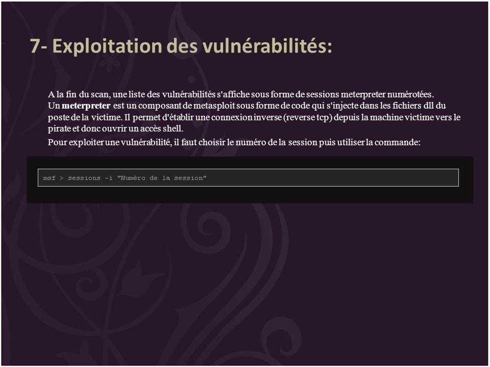 7- Exploitation des vulnérabilités:
