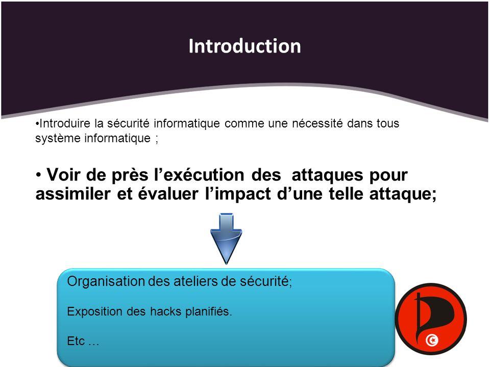 Introduction Introduire la sécurité informatique comme une nécessité dans tous système informatique ;