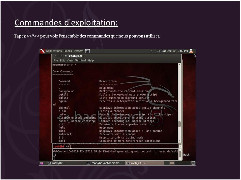 Commandes d exploitation: