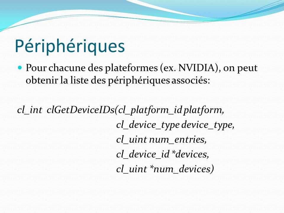 Périphériques Pour chacune des plateformes (ex. NVIDIA), on peut obtenir la liste des périphériques associés: