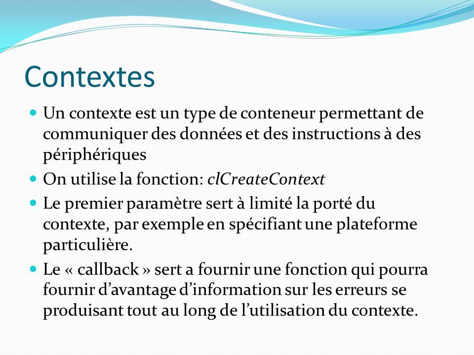 Contextes Un contexte est un type de conteneur permettant de communiquer des données et des instructions à des périphériques.